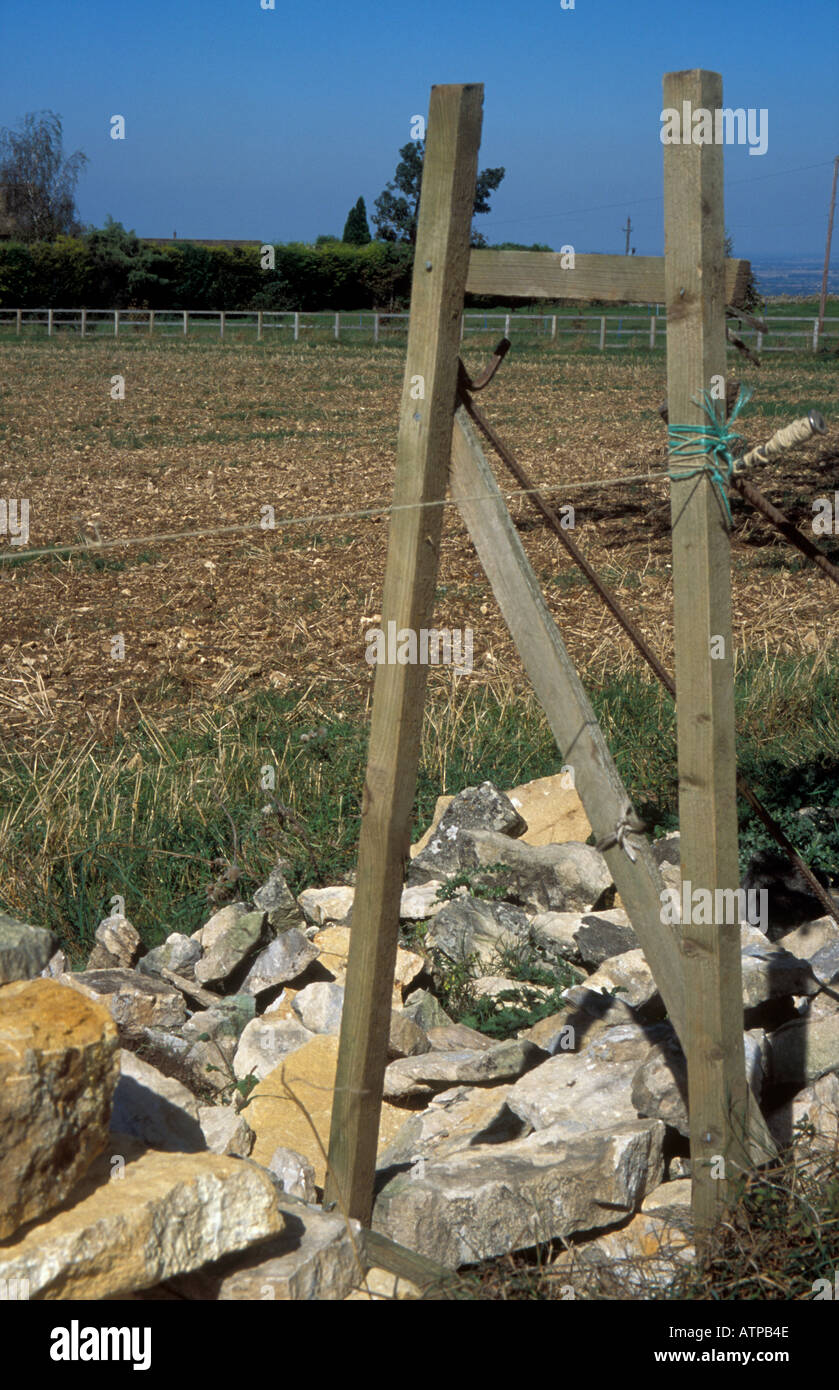 A craftsman building a traditional cotswold dry stone wall, near Chipping Campden, with a wooden frame to keep the shape - Stock Image