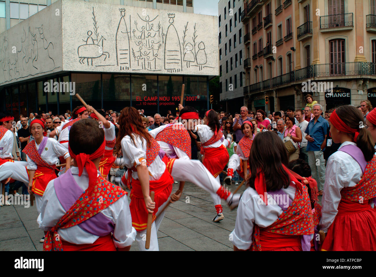 Folklore Dancing Barcelona Spain With Outdoor Artwork By Pablo Picasso In Background