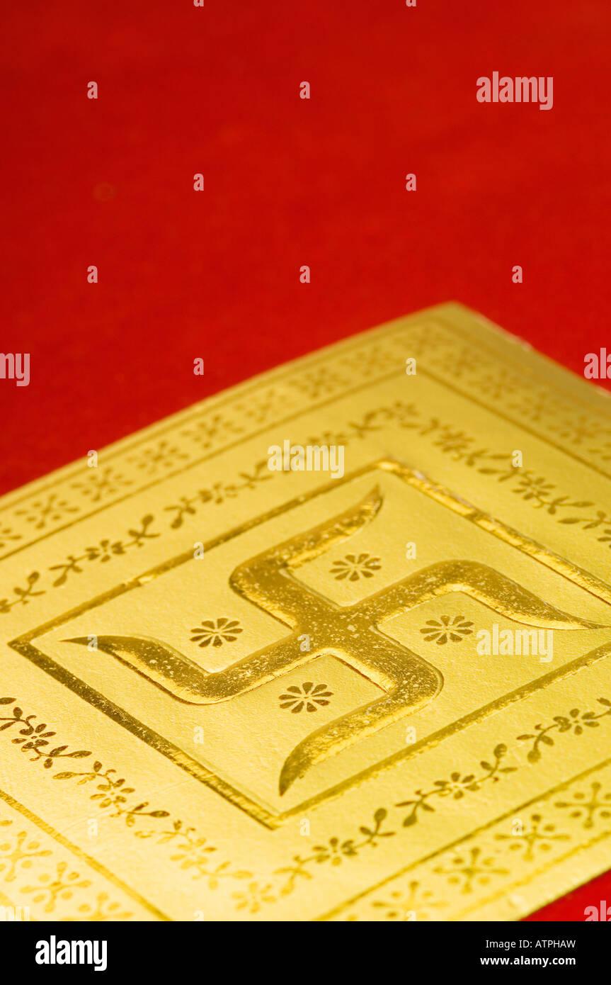 Close-up of a swastika on a wedding invitation card Stock Photo ...