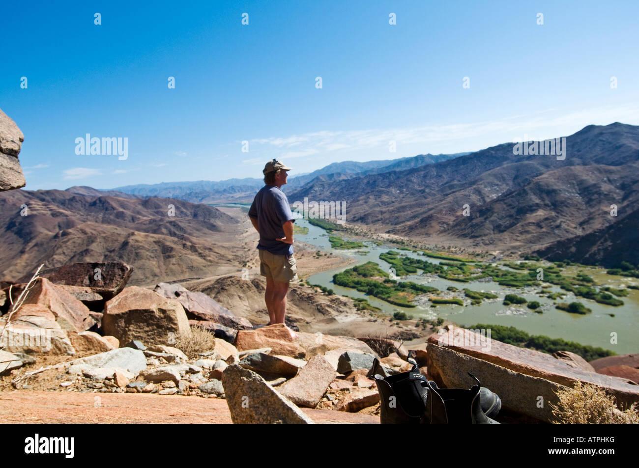Ai Ais Richtersveld Transfrontier National Park at De Hoop Rest Camp with Orange River and tourist - Stock Image