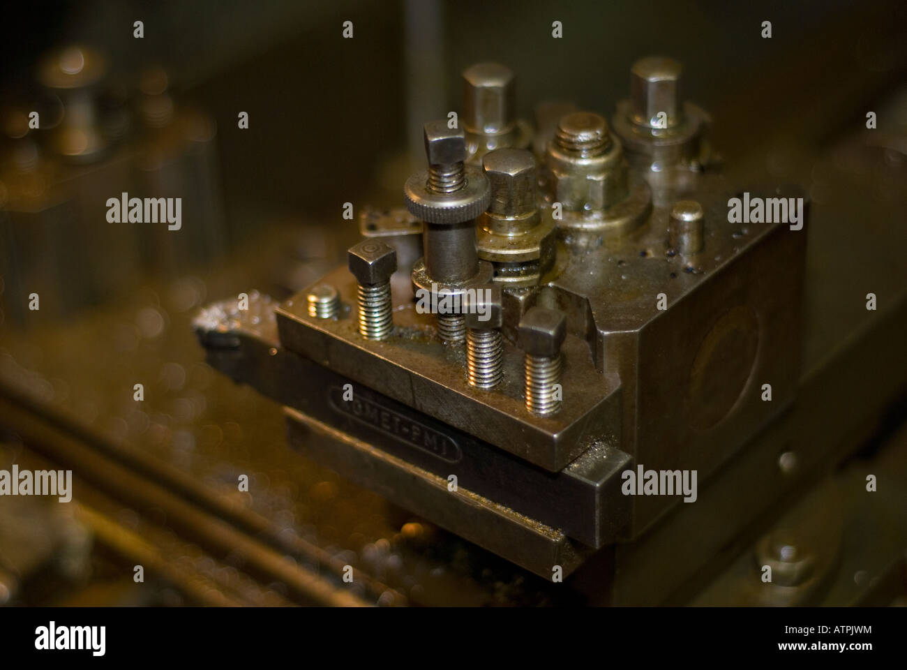 A Lathe Tool Post with Cutting Tool - Stock Image