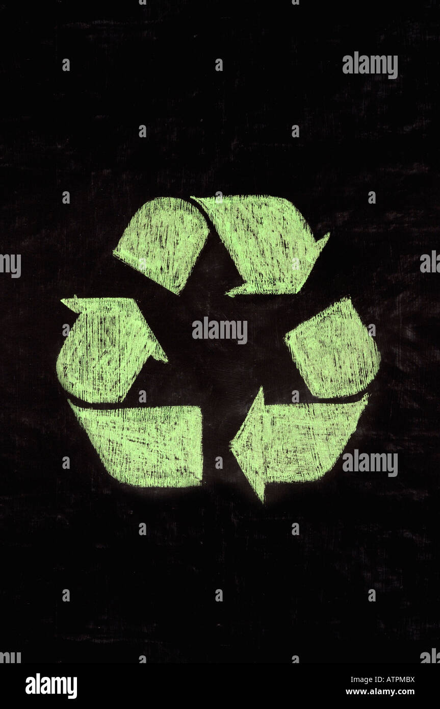 recycle symbol on a chalk board - Stock Image