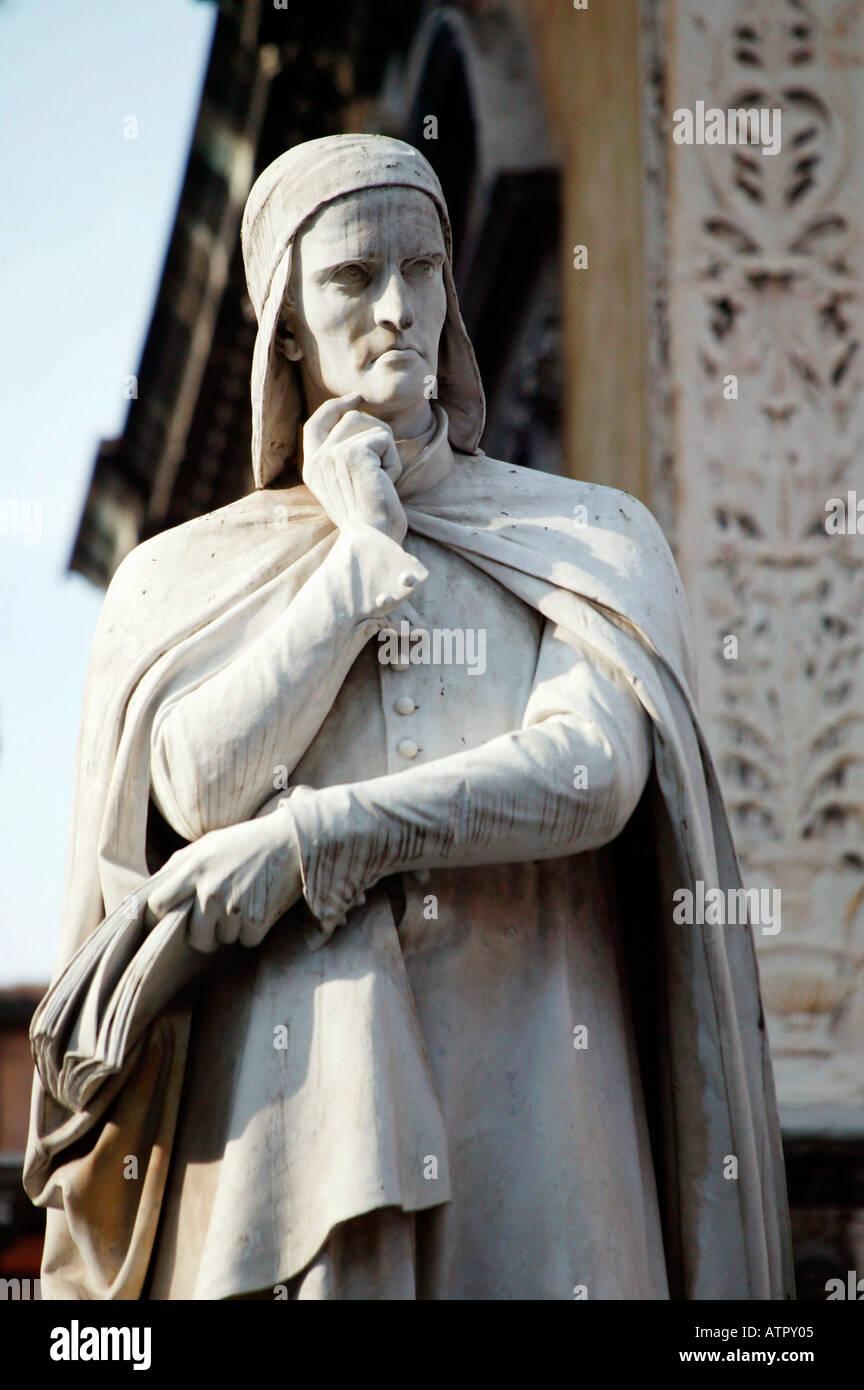 Dante statue / Verona / Dante-Statue - Stock Image