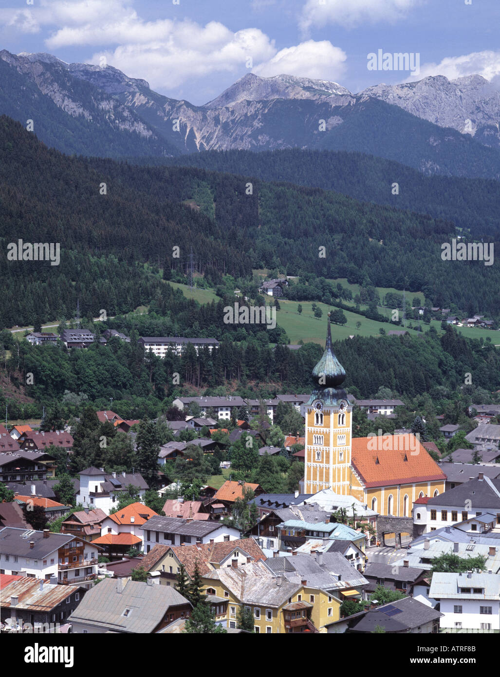 Austria Schladminger Tauern Town of Schladming and the Dachsteingruppe Alps Stock Photo