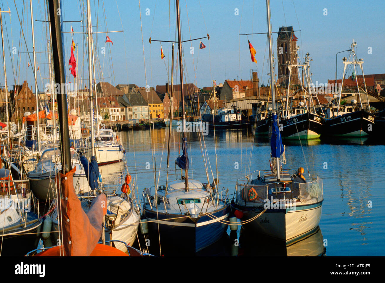 Ships in harbour / Wismar - Stock Image