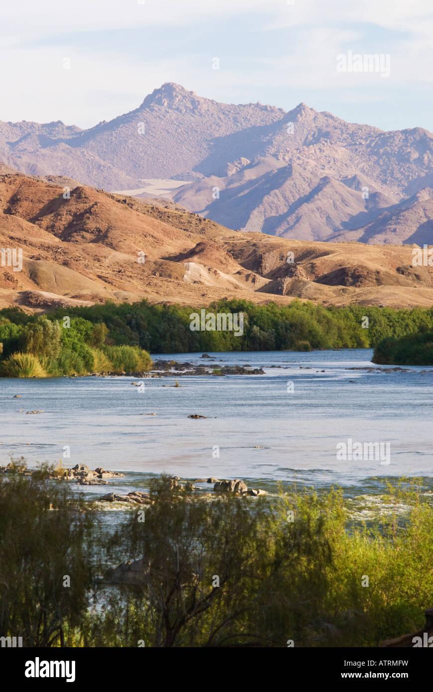 Ai Ais Richtersveld Transfrontier National Park at De Hoop Rest Camp with Orange River - Stock Image