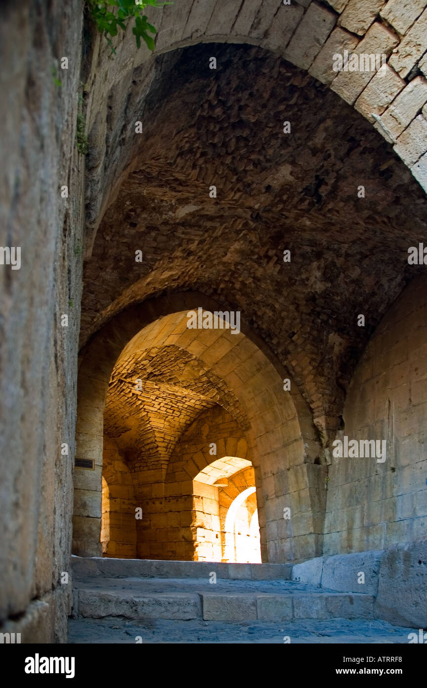 High vaulted gothic style arched ceilings and stone doorways, Crac des Chavaliers, Syria, Middle East. DSC_6052 - Stock Image