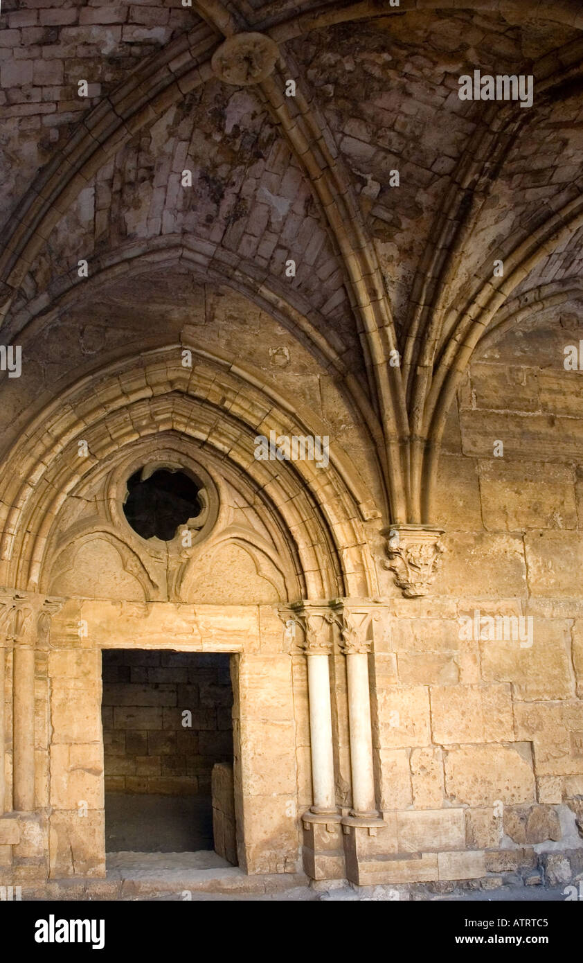 High vaulted gothic style arched ceilings and stone doorways, Crac des Chavaliers, Syria, Middle East. DSC_6101 - Stock Image