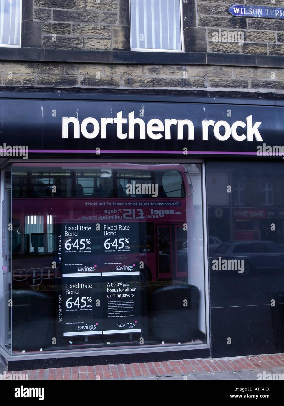 Northern Rock Bank branch displaying interest rates - Stock Image