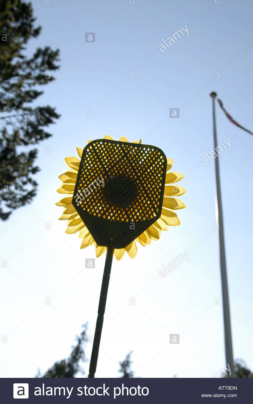 A fly swatter disguised as a sunflower, Denmark - Stock Image