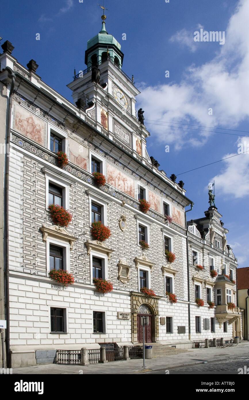 Neo Renaissance Town Hall Charles Square Kolin Czech Republic - Stock Image