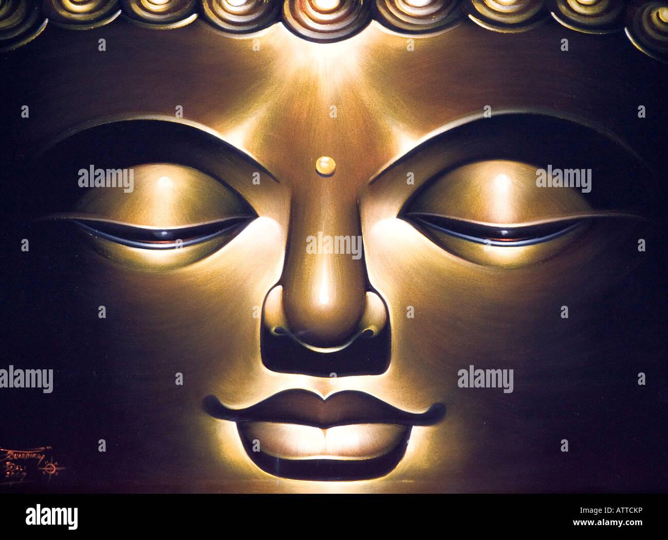 The Face Of Buddha Painting Ubud Bali Indonesia - Stock Image