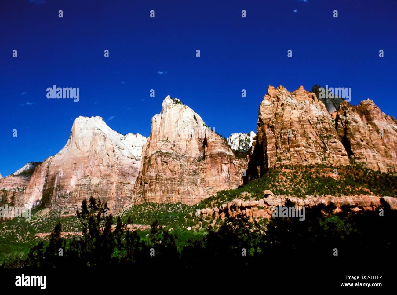 UT Utah Zion National Park geologic rock formations geology - Stock Image
