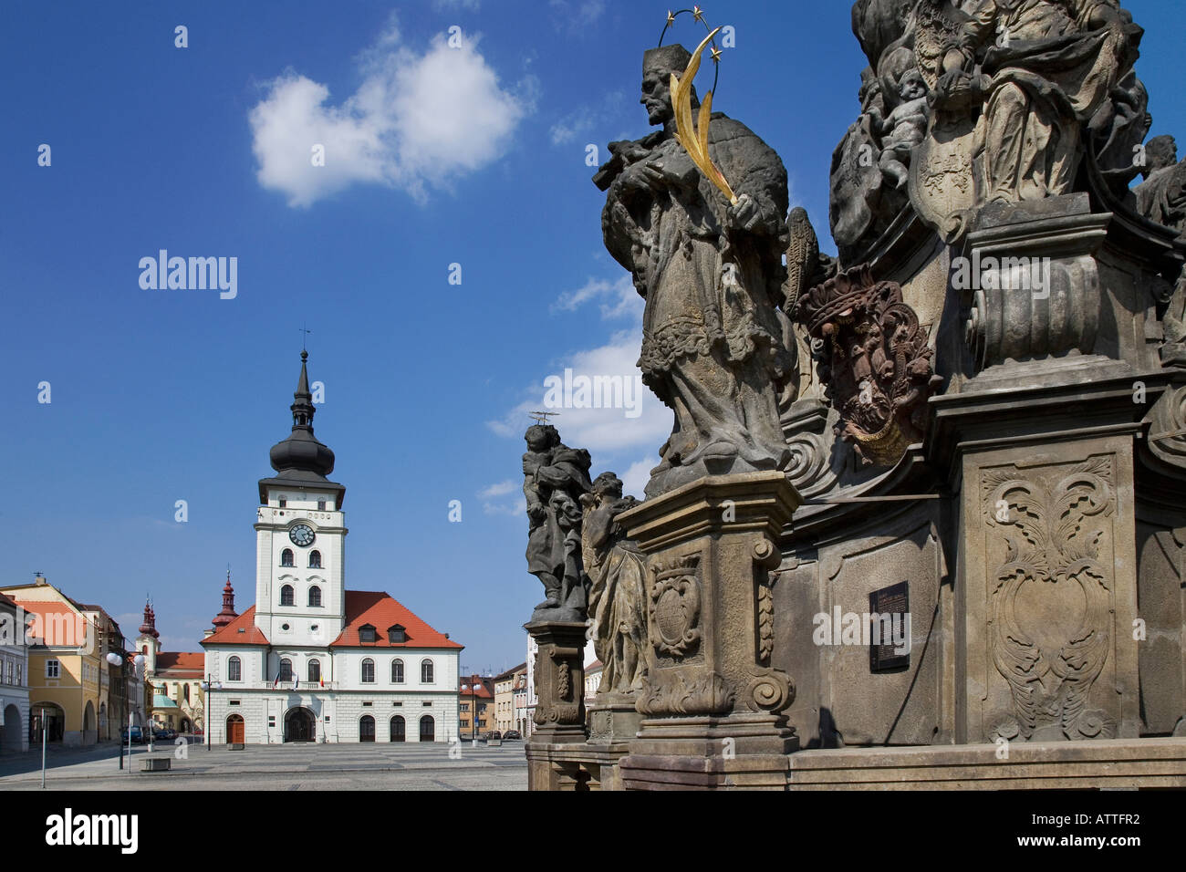 Plague Pillar of Holy Trinity and Town Hall Liberty Square Zatec Czech Republic Stock Photo