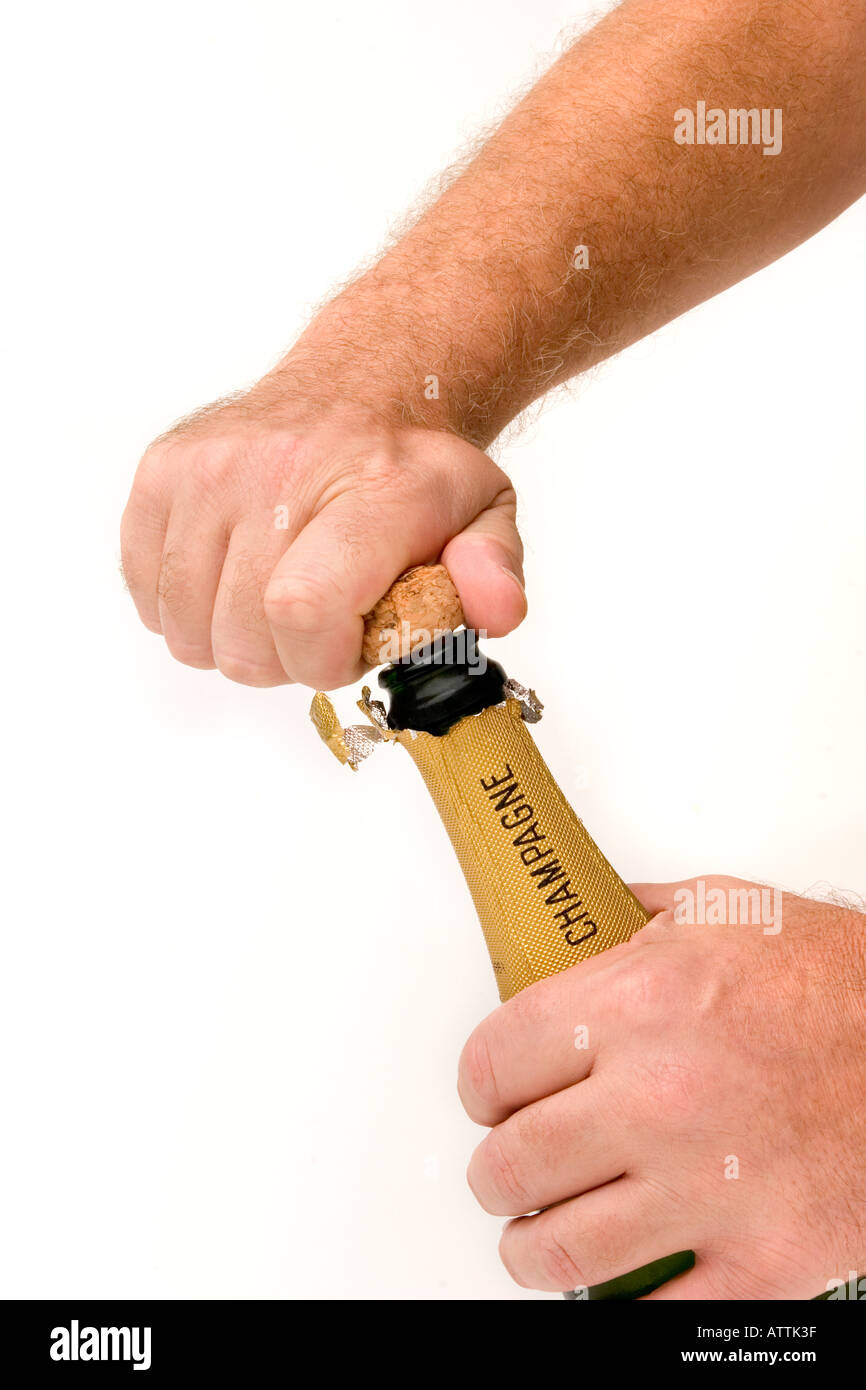 drink uncorking bottle of champagne Stock Photo