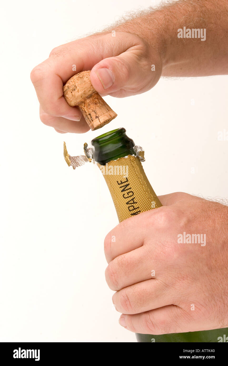 drink uncorked bottle of champagne Stock Photo