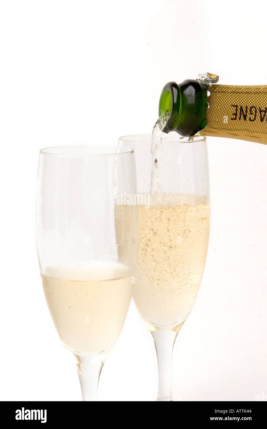 drink pouring two glasses of champagne Stock Photo