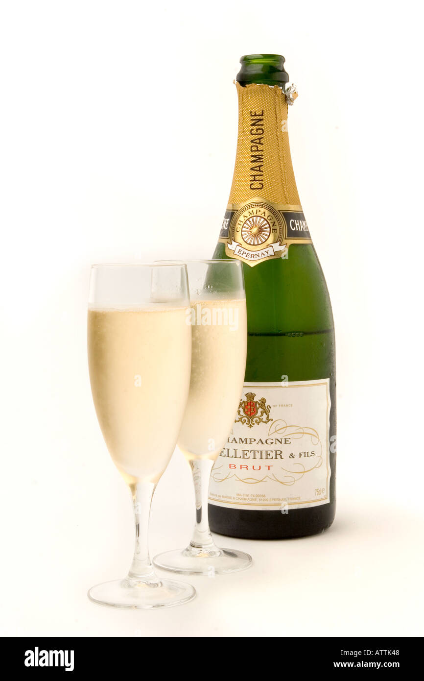 drink two glasses of chilled champagne with bottle Stock Photo