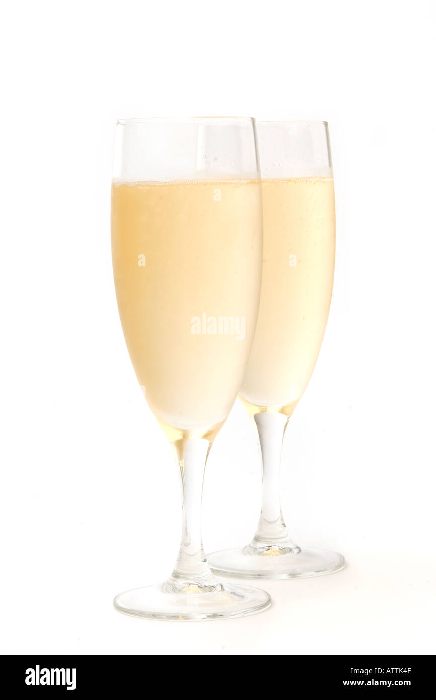 drink two glasses of chilled champagne Stock Photo