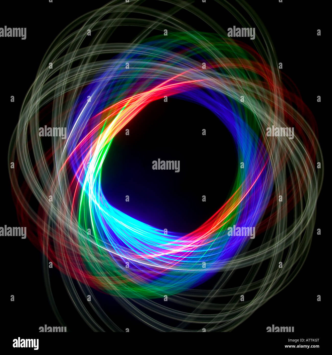 Physiogram spiral using three colour filters - Stock Image