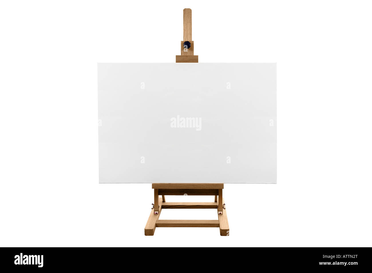 A genuine blank canvas on a wooden easel isolated on a white background - Stock Image