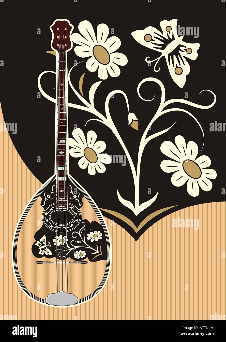Bouzouki. Greek music string instrument having three pairs of strings (Trichordo) - Stock Image