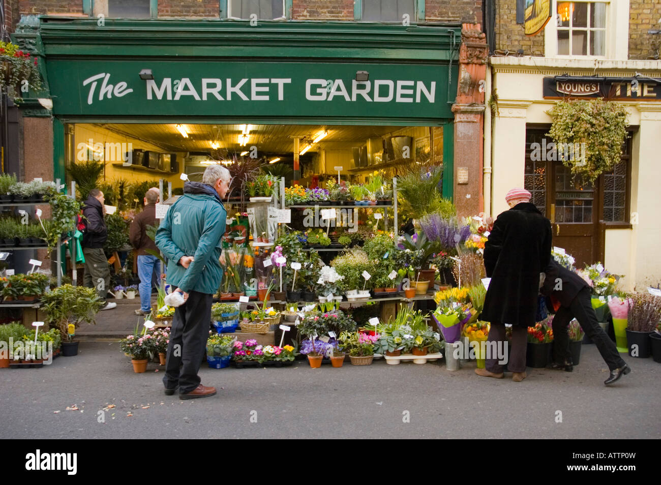 Flower and garden shop at Borough Market in London England UK Stock ...