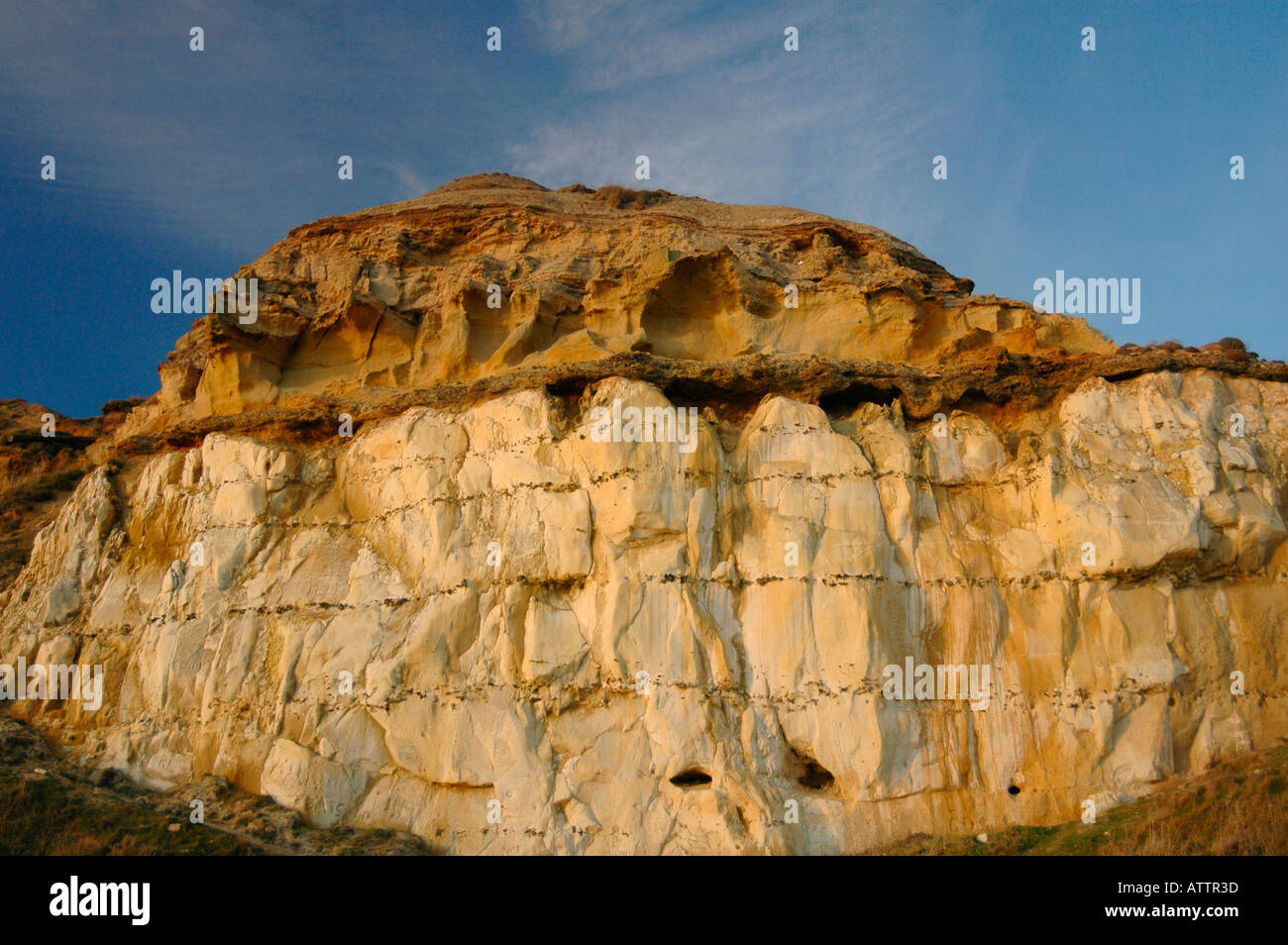 Tertiary sandstones and clays on top of the Cretaceous  chalk  cliffs. - Stock Image