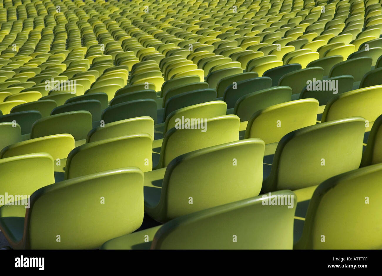 Green seats in the Olympic Stadium Munich, Bavaria, Germany - Stock Image