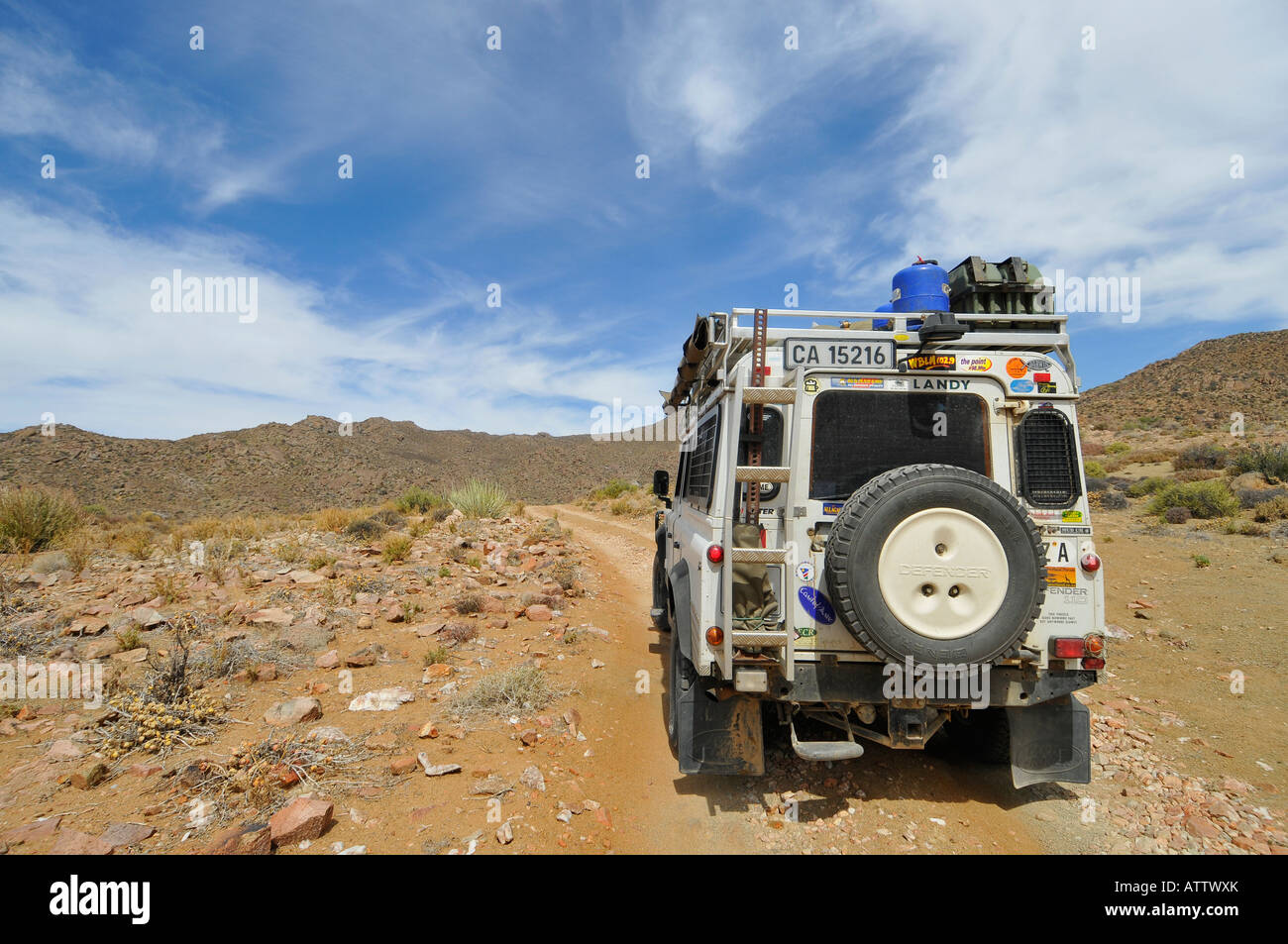 Ai Ais Richtersveld Transfrontier National Park at Akkedis Pass with Land Rover making the crossing - Stock Image