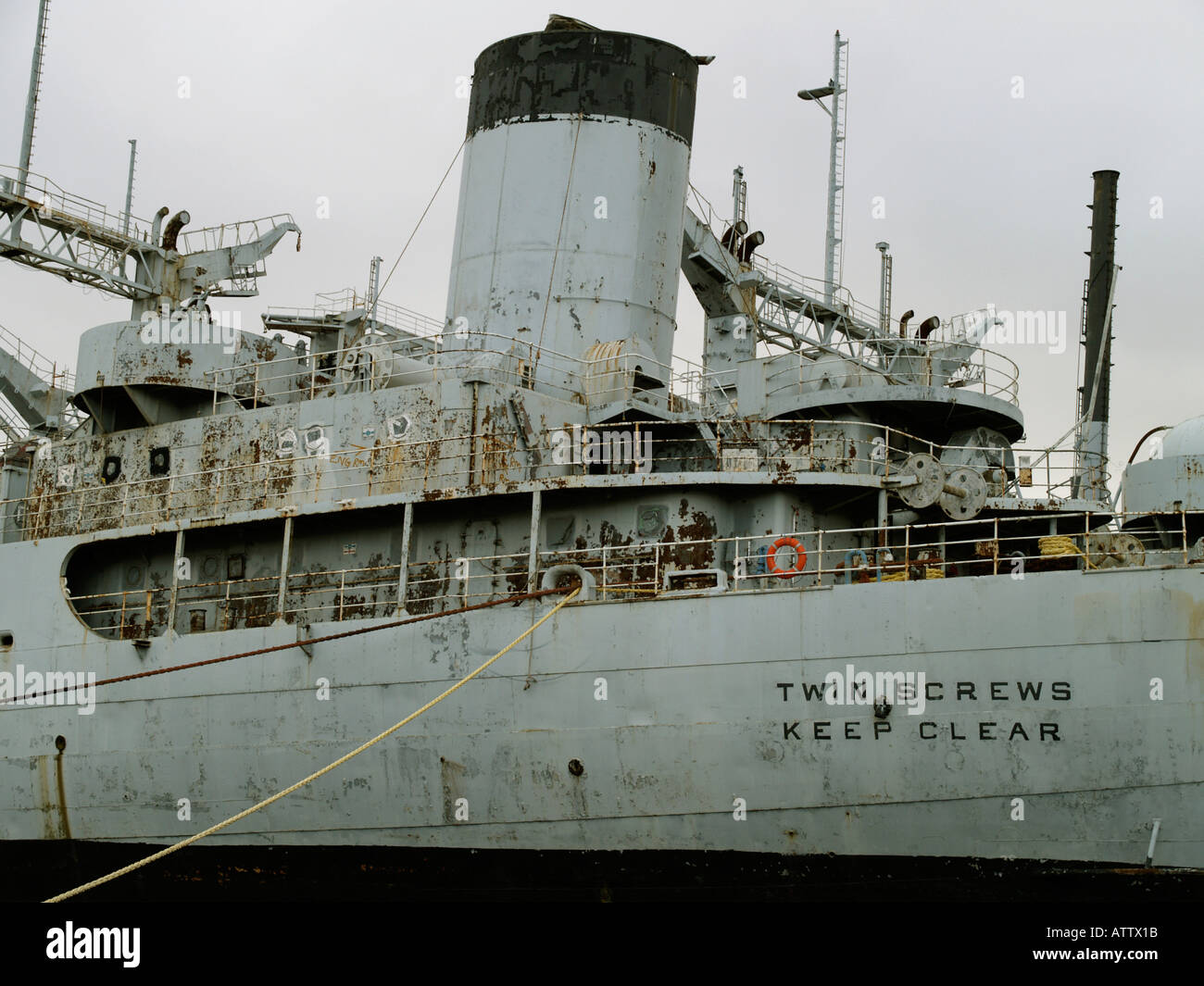 Ex US Navy ship awaiting demolition at the TERRC facility in Hartlepool Co. Durham, UK Stock Photo