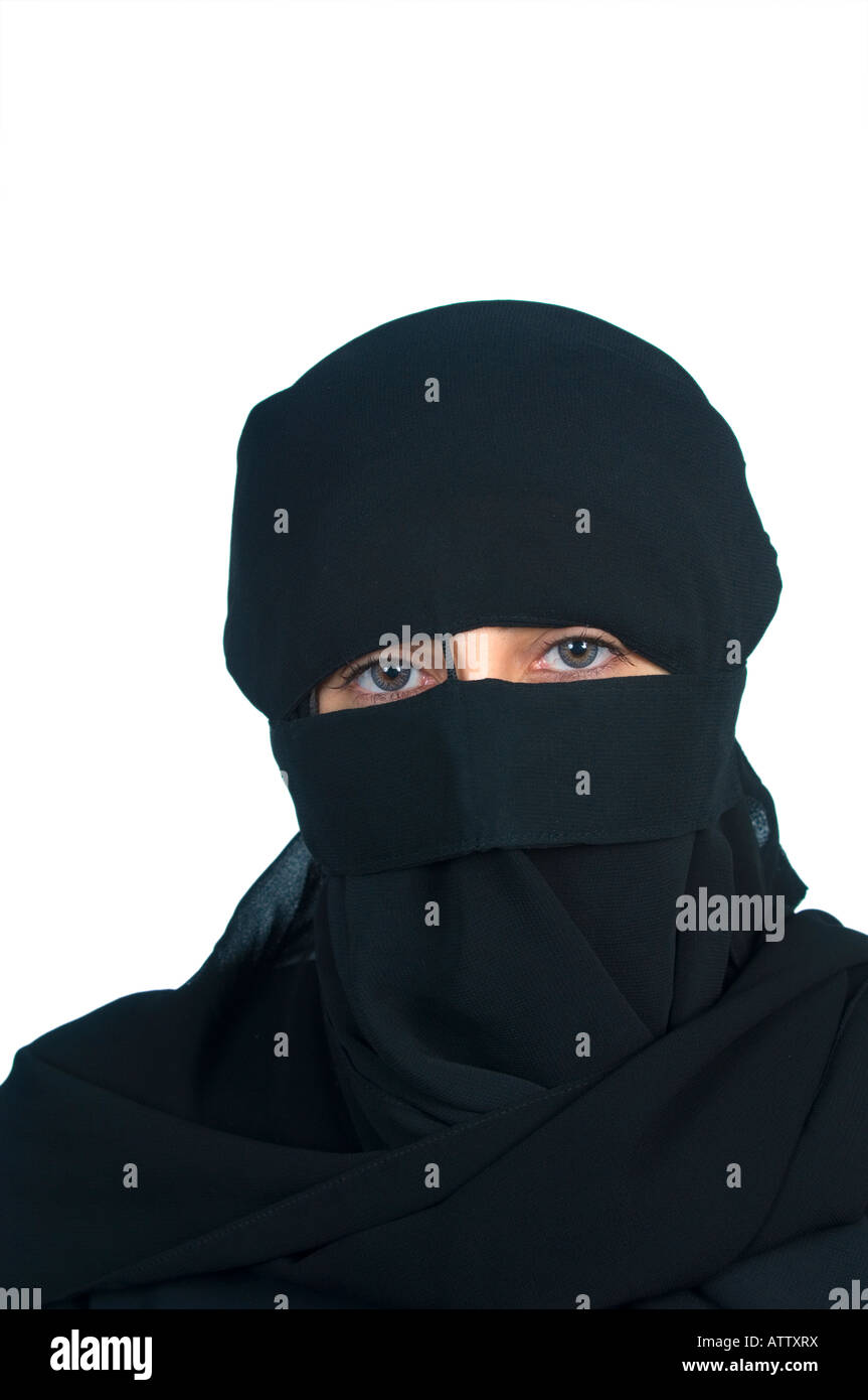 Muslim woman wearing black hijab veil - Stock Image