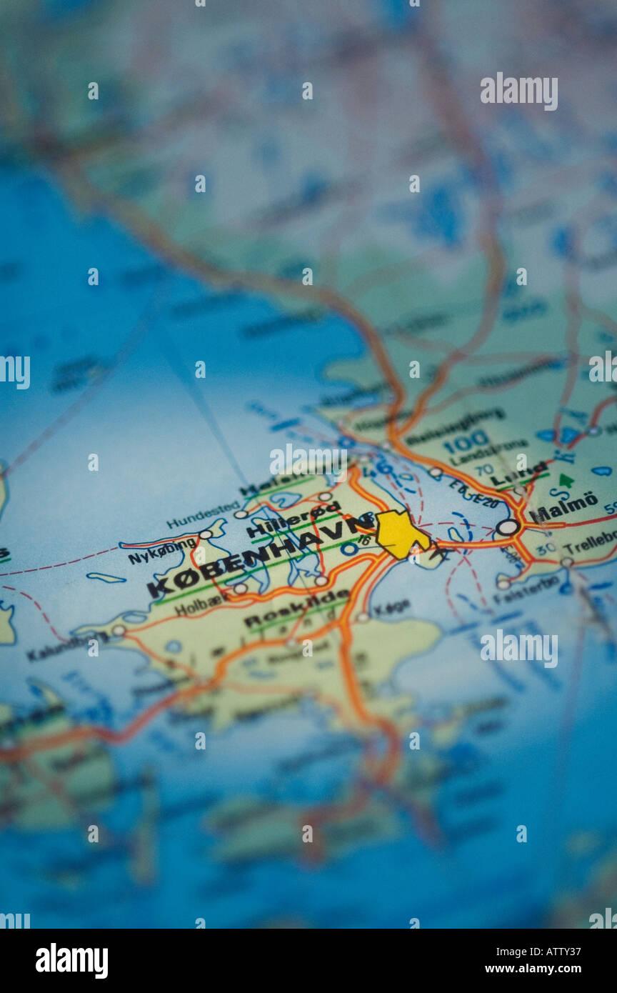 COPENHAGEN ROAD MAP - Stock Image