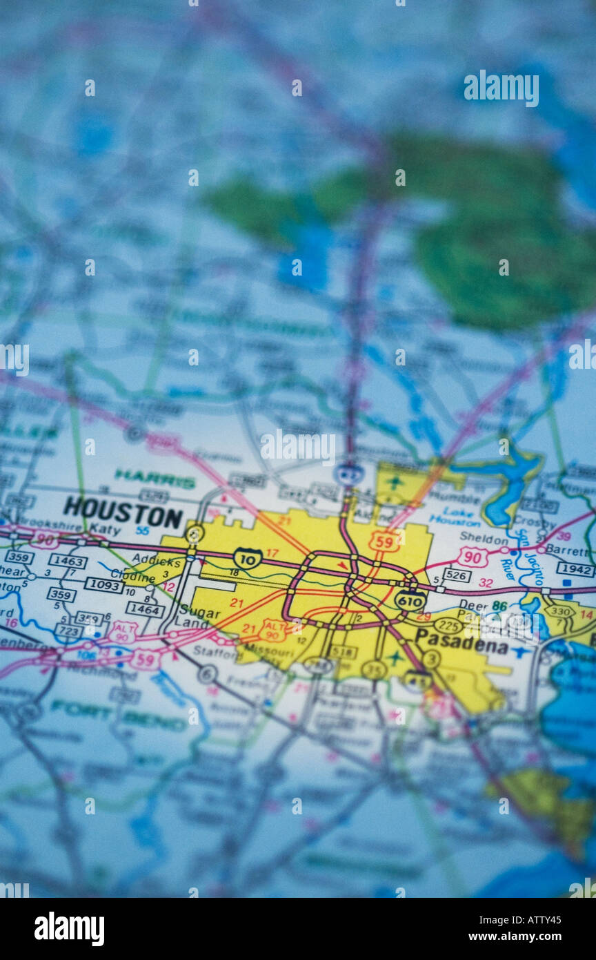 Road Map Of Texas State.Houston Texas State Road Map Stock Photo 5352260 Alamy