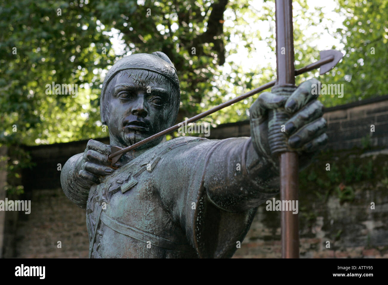 bronze Robin Hood castle green statue close up castle road nottingham england - Stock Image