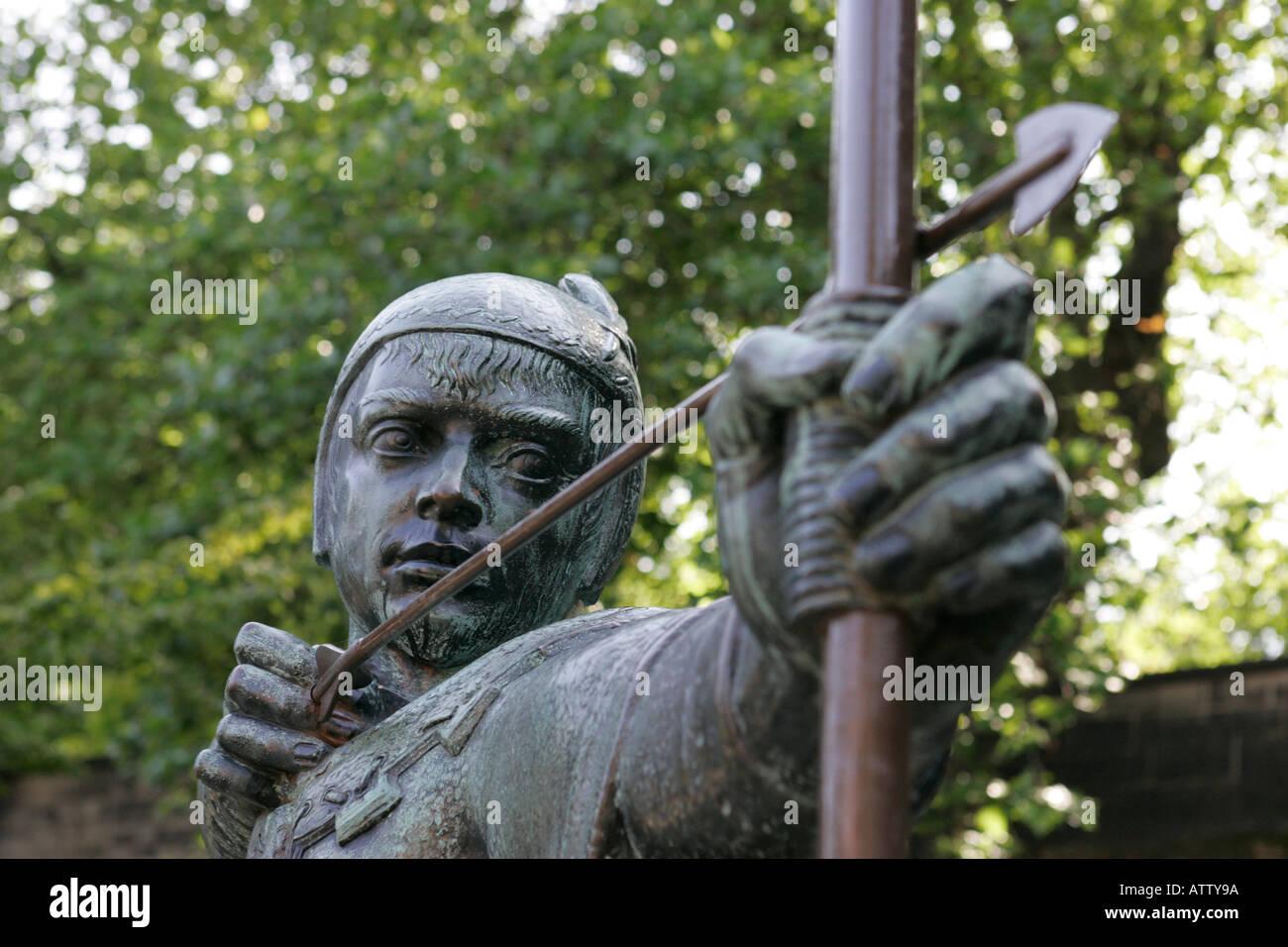 bronze Robin Hood statue close up castle road castle green nottingham england close up - Stock Image