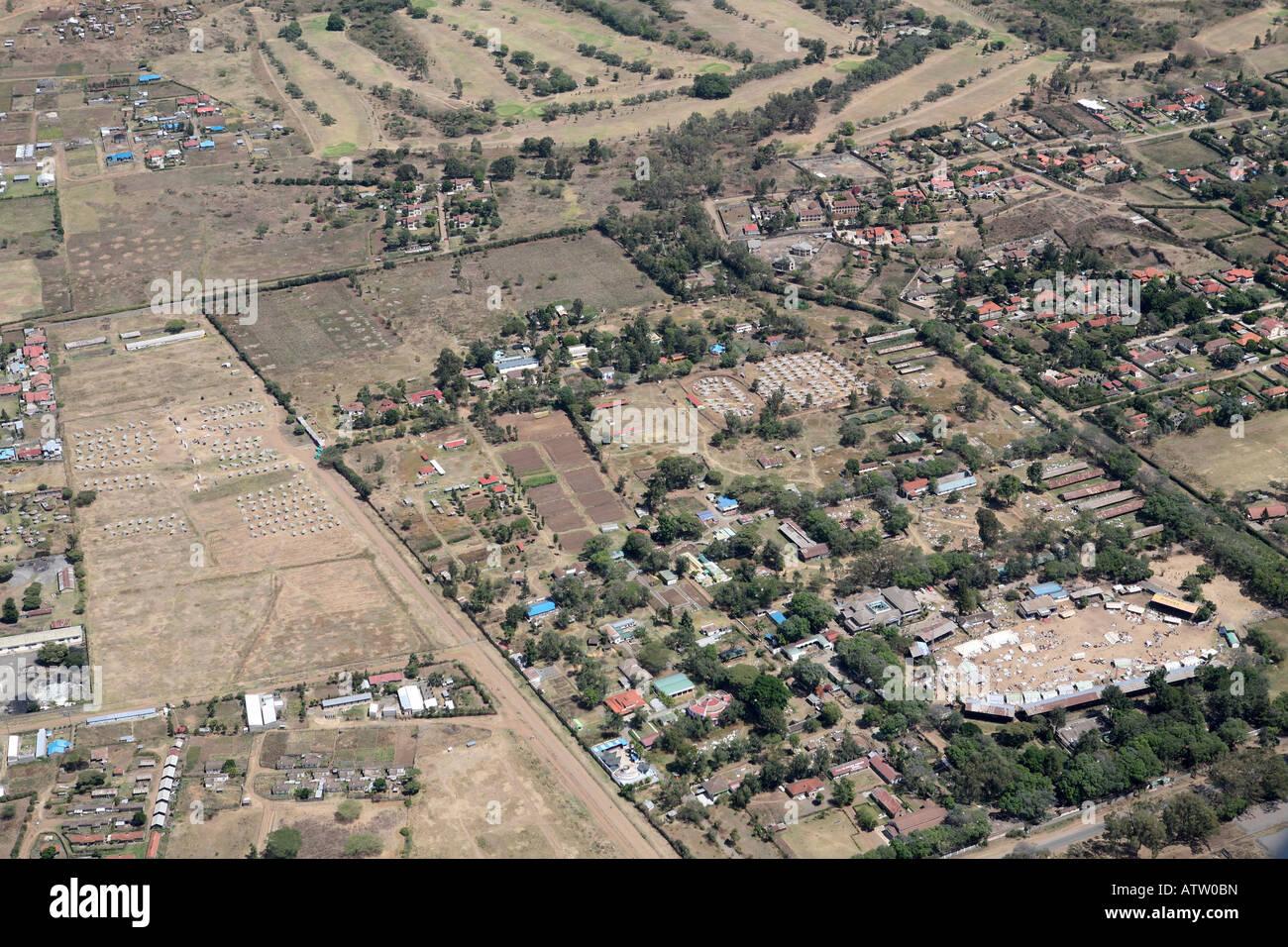 """Aerial shot of Nakuru,showing the """"Nakuru Showground"""" and IDP camp  Kenya , Africa Stock Photo"""