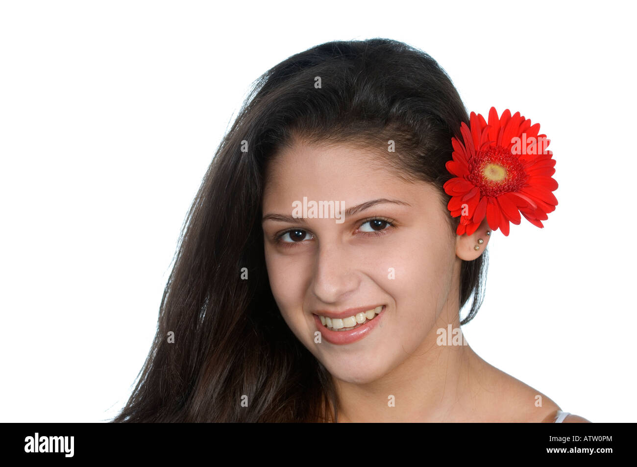 Flower behind ear stock photos flower behind ear stock images alamy beautiful ethnic girl with red gerbera flower behind ear stock image izmirmasajfo