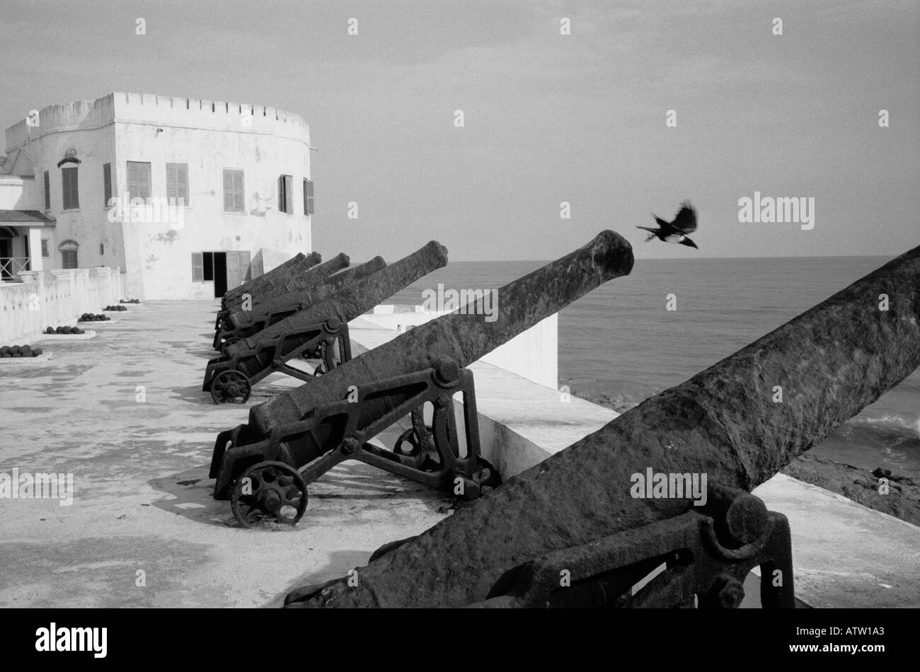 Slave Forts with Cannon Cape Coast Ghana - Stock Image