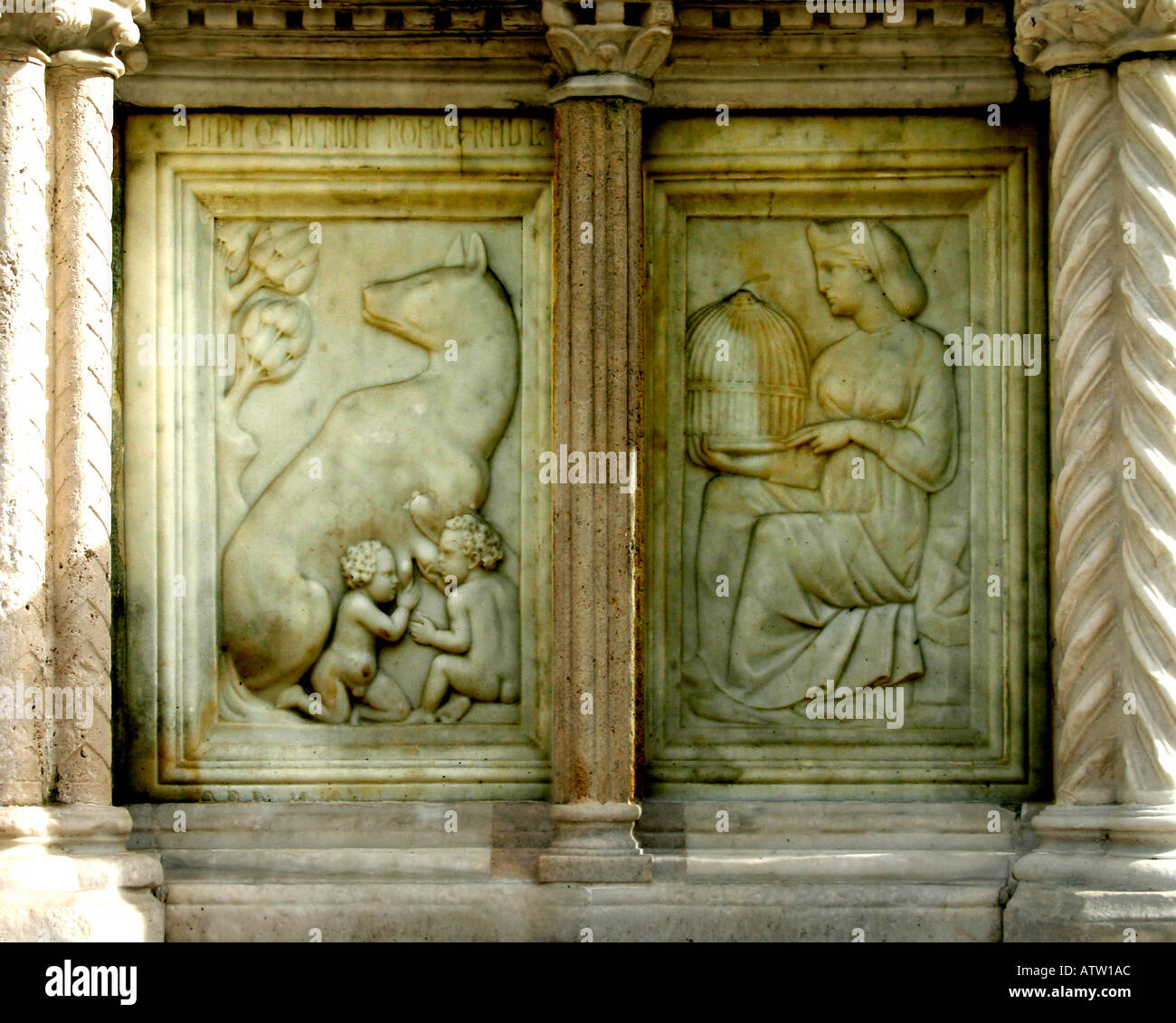 Panel from Fontana Maggiore Perugia Italy Romulus and Remus - Stock Image