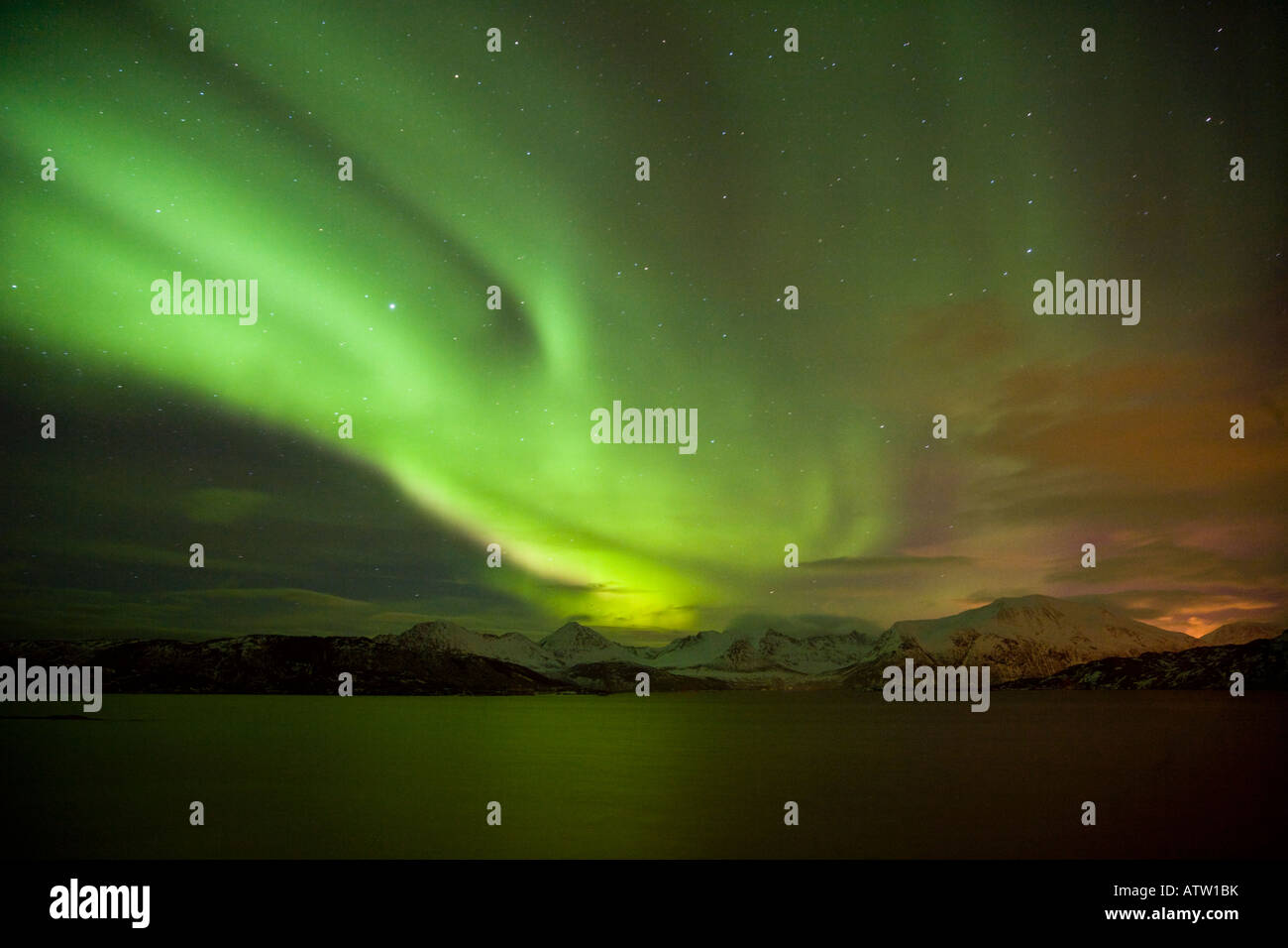 Spectacular Aurora Borealis (Northern Lights) over Sommarøy, Norway - Stock Image