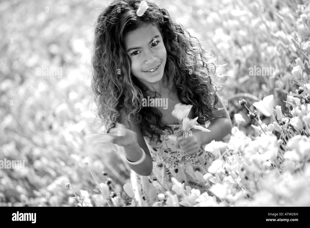 Young Girls in the middle of a California Poppy field, Lake Elsinore, California - Stock Image