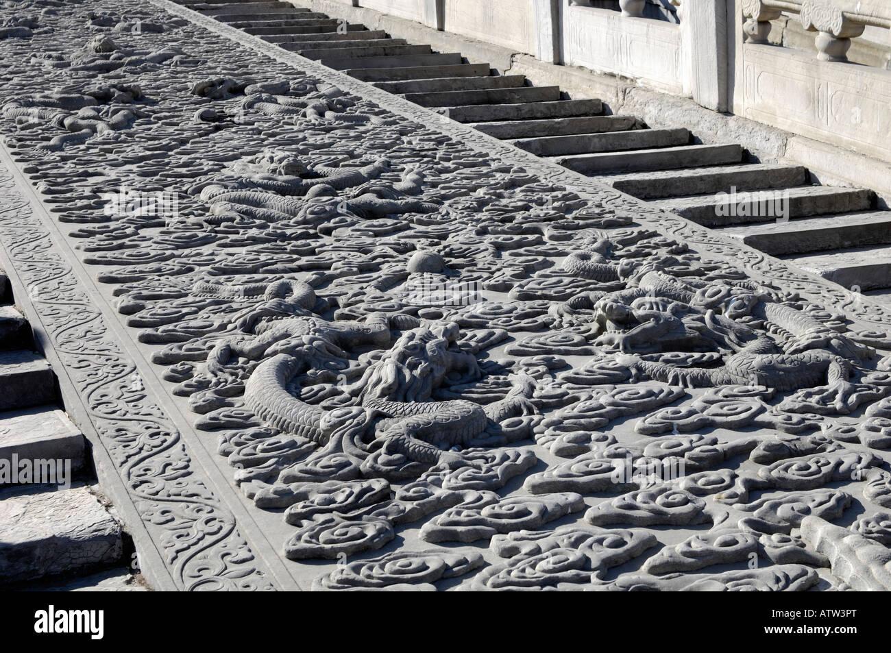 Stone carving dragon in Forbidden City Beijing 03-Mar-2008 - Stock Image