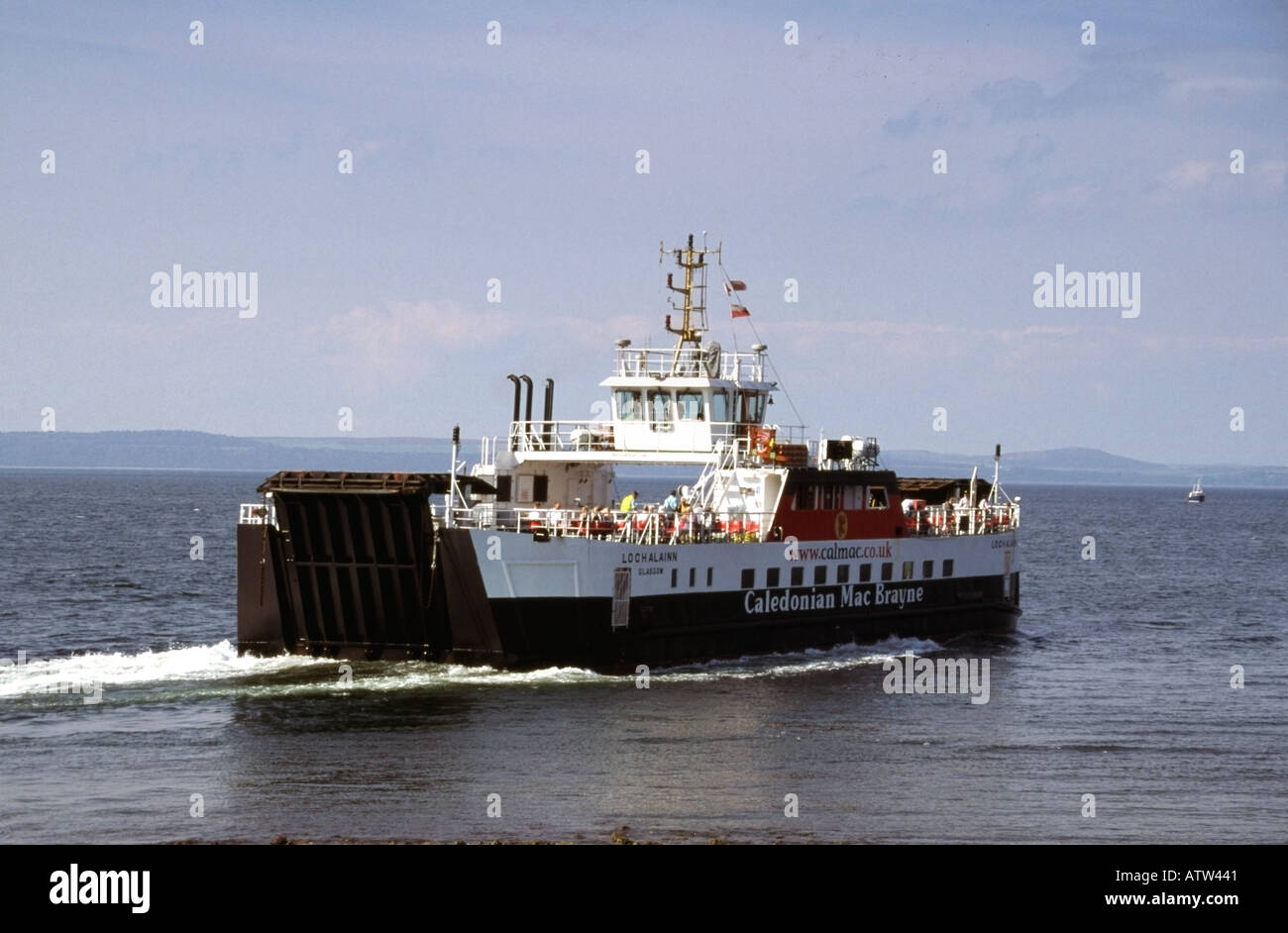 Cal Mac Ferry Loch Alainn leaving Largs for Millport on Great Cumbrae island Clyde Estuary Scotland - Stock Image