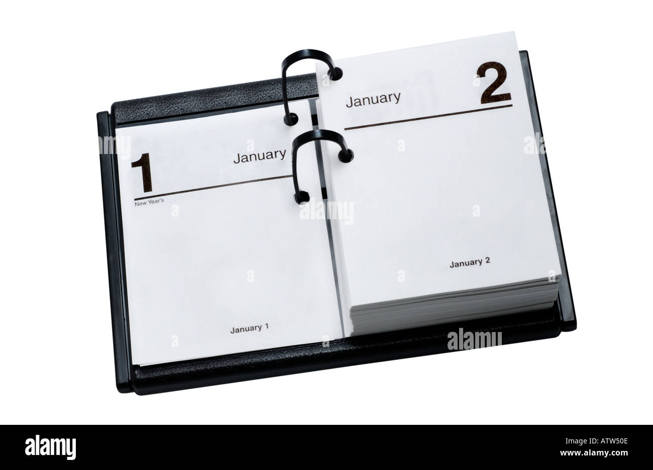 Blank Desk Calendar open to January 1st New Years Day - Stock Image