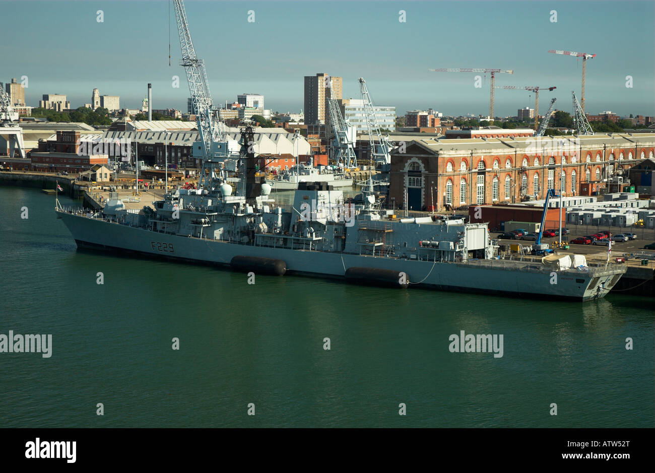 HMS Lancaster in HM Dockyard Portsmouth Stock Photo