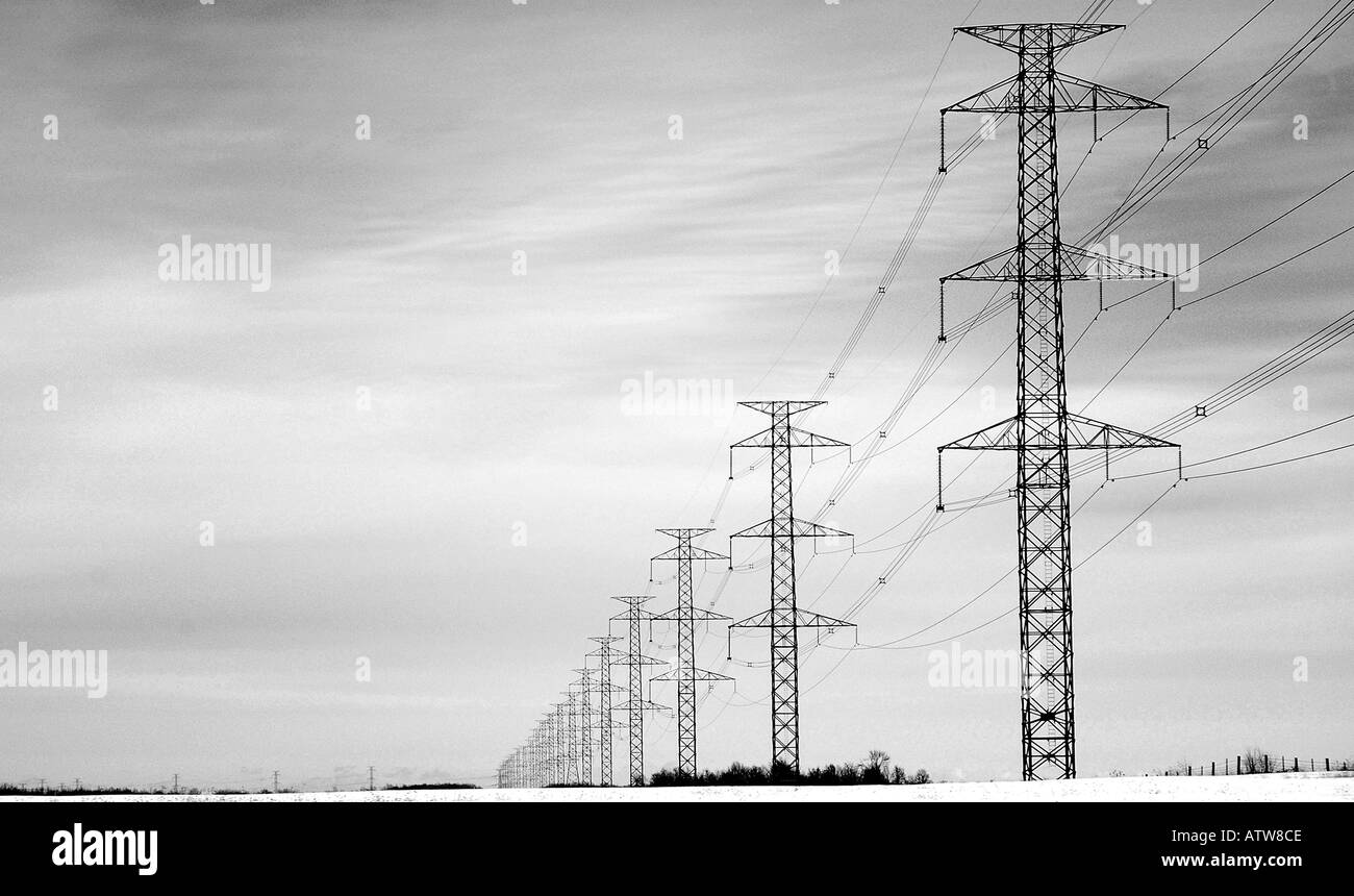 String of Powerline Towers Disappear into a Winter HorizonStock Photo