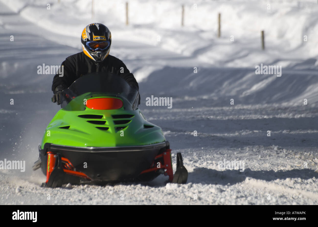 Snowmobile Drag Racing in the region of Charlevoix, Quebec
