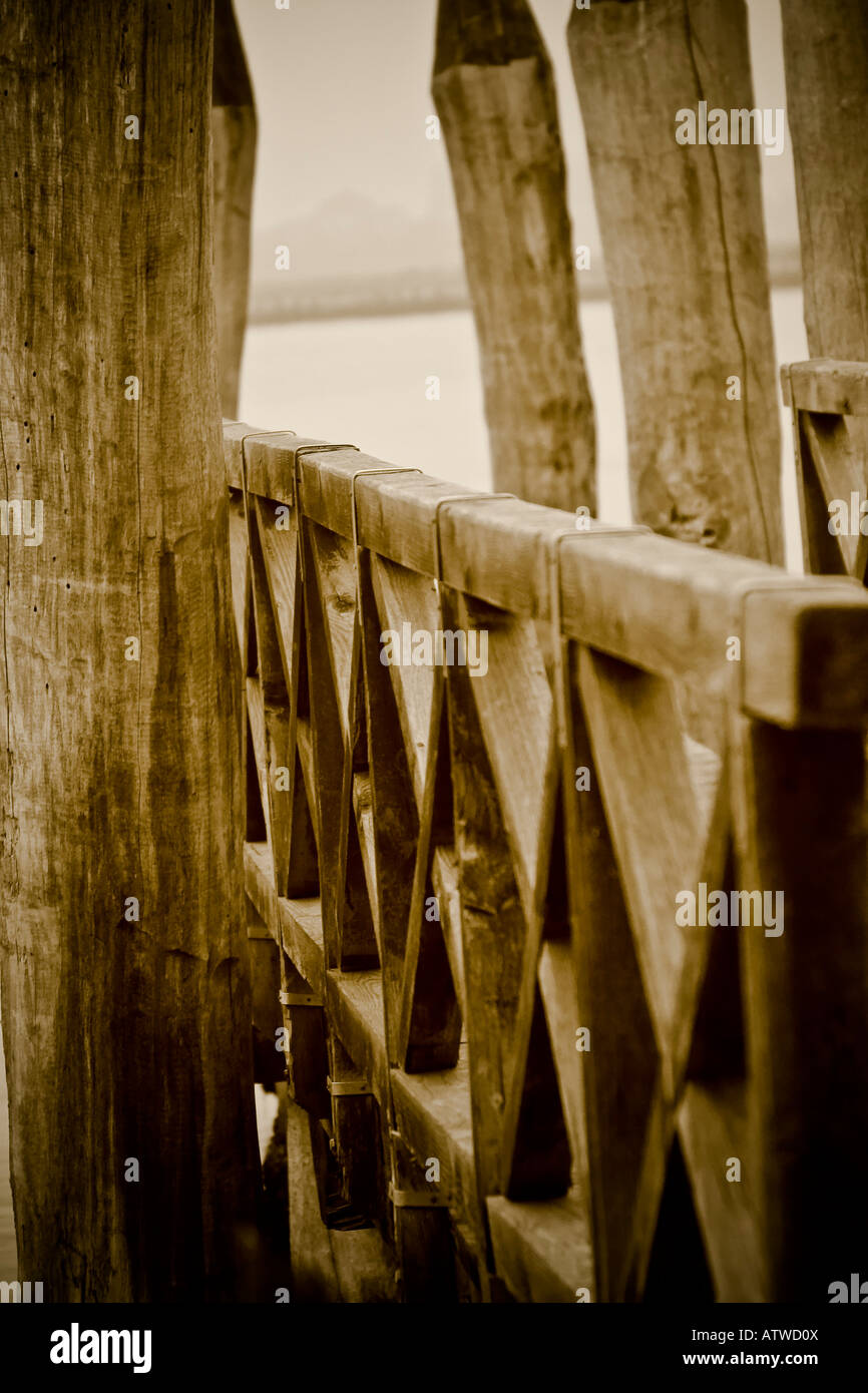 Detail of a wooden bridge in sepia tones, Venice - Stock Image