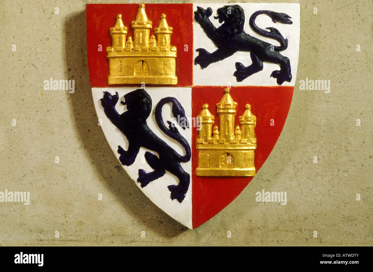 Lincoln Cathedral shield coat of arms heraldry heraldic device medieval black lions gilt gold castle England UK - Stock Image